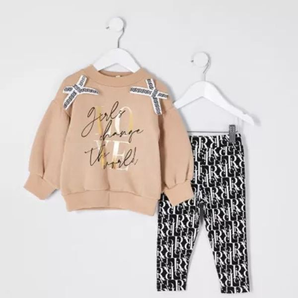 Save 45% - Mini girls brown 'Love' bow outfit