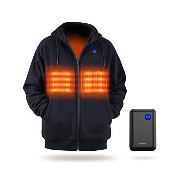 IUREK Heated Hoodie for Men Women, ZD940 Electric Heated Jacket with 10000mAh Battery Pack, 3 Heating Levels, Soft Heated Body Warmer for Outdoors