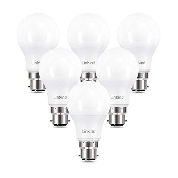 Linkind B22 Bayonet Cap Dimmable LED Light Bulb, 8.8W(60W Equivalent) 806lm A60 Classic Shape LED Bulbs, Soft White 2700K, Not Suitable for 3-Way Dimmable Lamps, 6 Pack