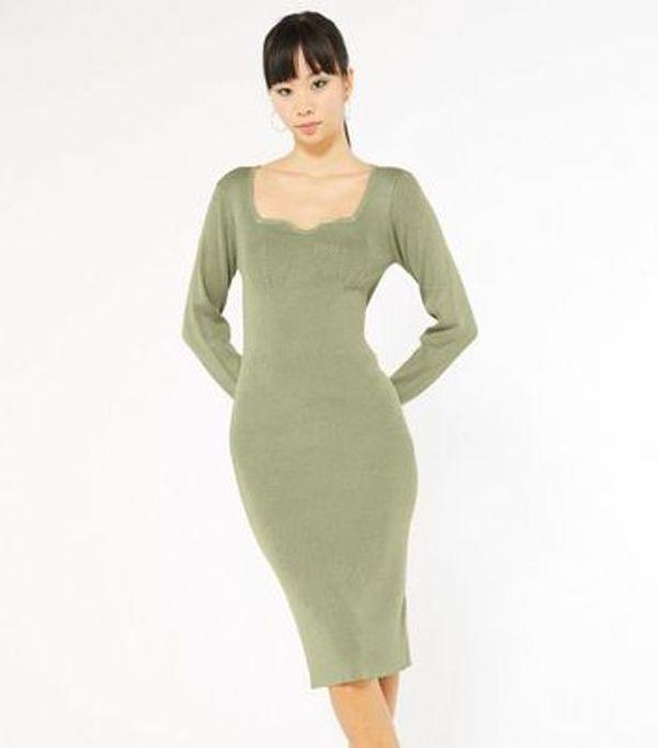 HALF PRICE! Khaki Knit Sweetheart Neck Midi Dress