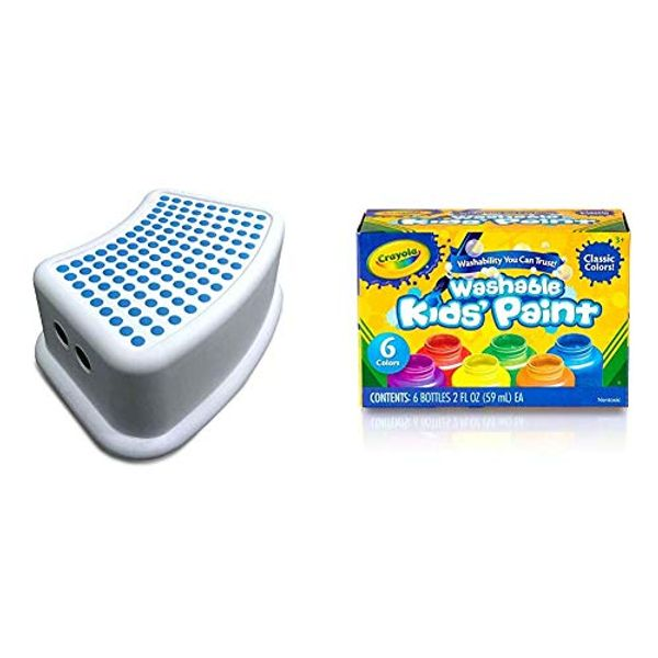 Addis Kids Bathroom Booster Step Stool, White/Blue, 24 x 36.5 x 13 cm & Crayola Washable Kids Paint, Pack of 6