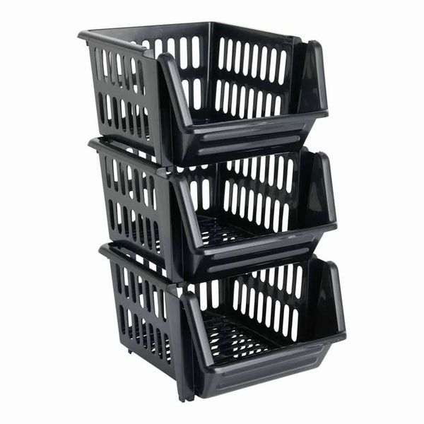 Wilko Set of 3 Silver Stacking Baskets