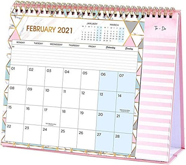 Save 20% - Desk Calendar 2021, Calendar 2021 Month to View with 2 Pockets, Runs from January 2021 to December 2021, to-Do List, 26.7 x 21.8 x 7.8 cm