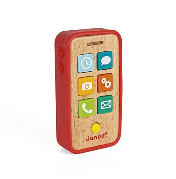 Save 20% - Janod - Wooden Sound Telephone for Children - Pretend Play Toy - For children from the Age of 18 Months, J05334