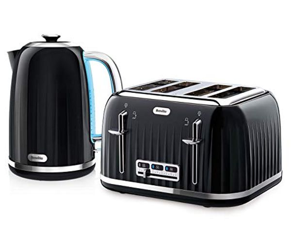 Breville Impressions Kettle & Toaster Set with 4 Slice Toaster & Electric Kettle (3 KW Fast Boil), Black