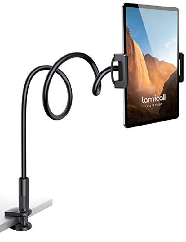 "Save 20% - Lamicall Gooseneck Tablet Holder, Flexible Tablet Stand - 360 Adjustable Lazy Arm Holder Clamp Bracket Bed for 2020 New iPad Pro 9.7, 10.5, iPad Air mini 2, 3, 4, Tab, Switch, 4.7-11"" Devices - Black"