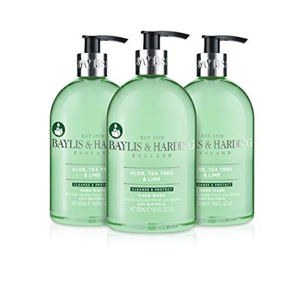 Save 25% - Baylis & Harding Aloe, Tea Tree and Lime Anti Bacterial Hand Wash, 500 ml, Pack of 3