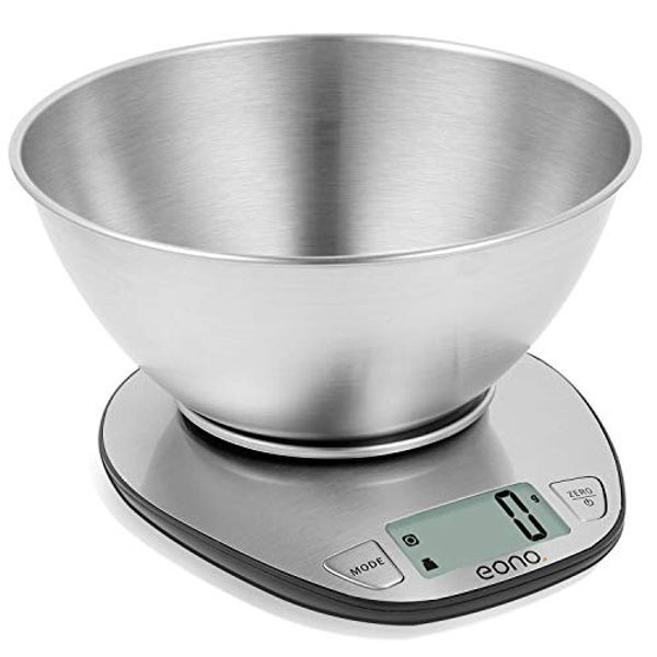 Save £2.70 - Eono by Amazon - Electronic Kitchen Scale Premium Large Display Backing Scale Wet and Dry Food Weighing Scale with Stainless Steel Mixing Bowl - 11lb/5kg