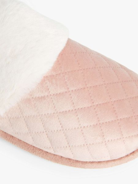 HALF PRICE! John Lewis & Partners Quilted Mule Slippers, Blush/Cream