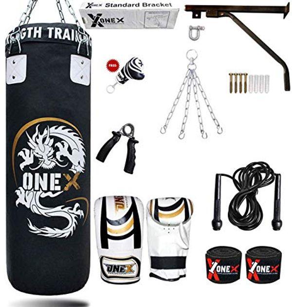 Save £5.00 - ONEX 3ft Punch Bag Set Heavy Filled Boxing Training Punching Gloves Fighting Hanging 13pcs Bracket Chains set