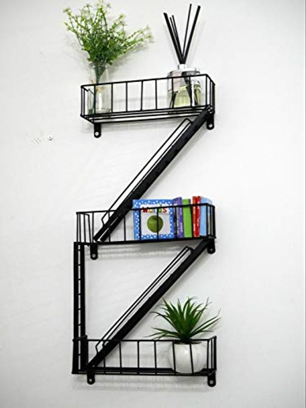 HomeZone® Novelty New York City Fire Escape Floating Bathroom Wall Shelving Unit Modern Black Display Unit Stand Bedroom Storage Unique Home Decor