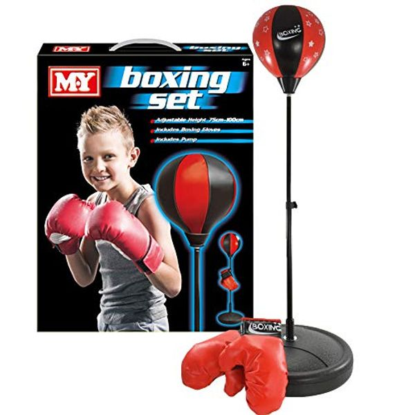 M.Y Kids Boxing Bag with Gloves | Freestanding Adjustable Punch Bag for Juniors