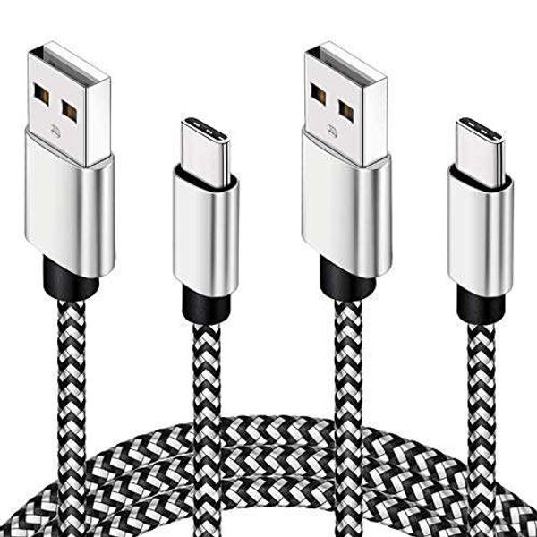 USB C Cable 3M 2 Pack Type C Charging Cable 10ft Certified Nylon Braided PS5 Controller Charging Cable Compatible For Samsung S10/ S9/ S8 Plus/Note 8, Huawei P30/ P20/ P10, Pixel, MacBook