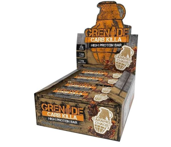 Save 52% - Grenade Carb Killa High Protein and Low Carb Bar, 12 x 60 g - Caramel Chaos