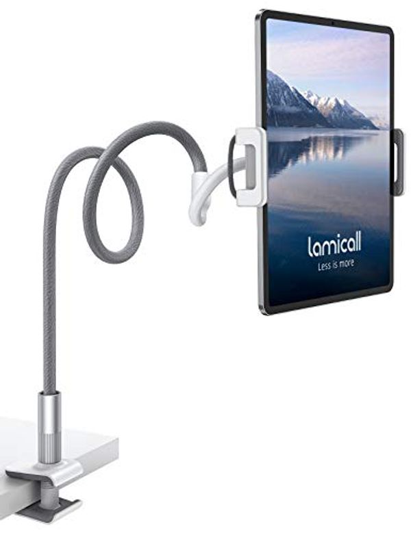 """Save £4.00 - Lamicall Gooseneck Tablet Holder, Universal Tablet Stand - 360 Flexible Lazy Arm Holder Clamp Mount Bracket Bed for 4.7~10.5"""" iPad Air Pro mini, Samsung Tab, iPhone, Switch, more Devices - Gray"""