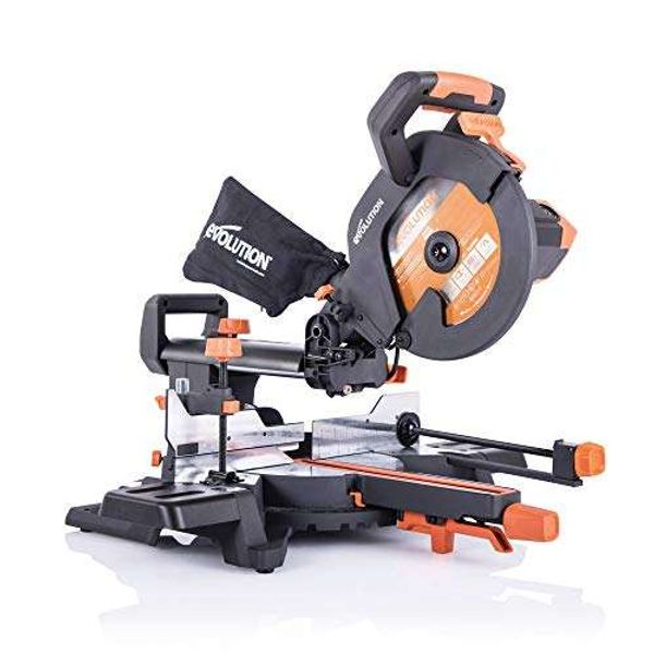 Save £35.85 - Evolution Power Tools R255SMS+ Compound Saw with Multi-Material Cutting, 45° Bevel, 50° Mitre, 300 mm Slide, 2000 W, 255 mm, 220-240 V, (3-Years Warranty)