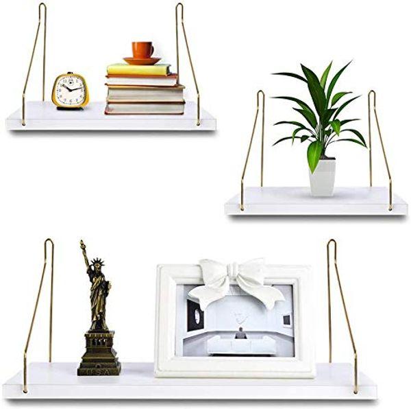 Save 25% - Uarter Floating Shelves, White Floating Shelve for Wall, Floating Book Shelf Wall Mounted Organizer for Kitchen, Living Room, Bedroom, Office Storage Shelves, Display Racks, Home Decor, Set of 3