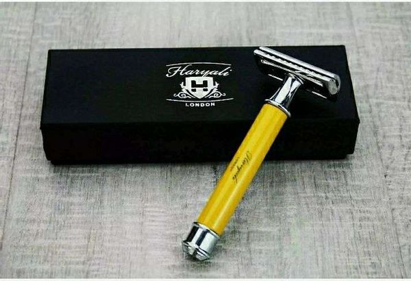 Butterfly Safety Razor & 10 Double Edge Blades Classic Shaving Vintage, Yelllow