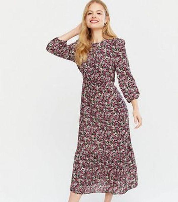HALF PRICE! Black Floral Tiered Midi Dress