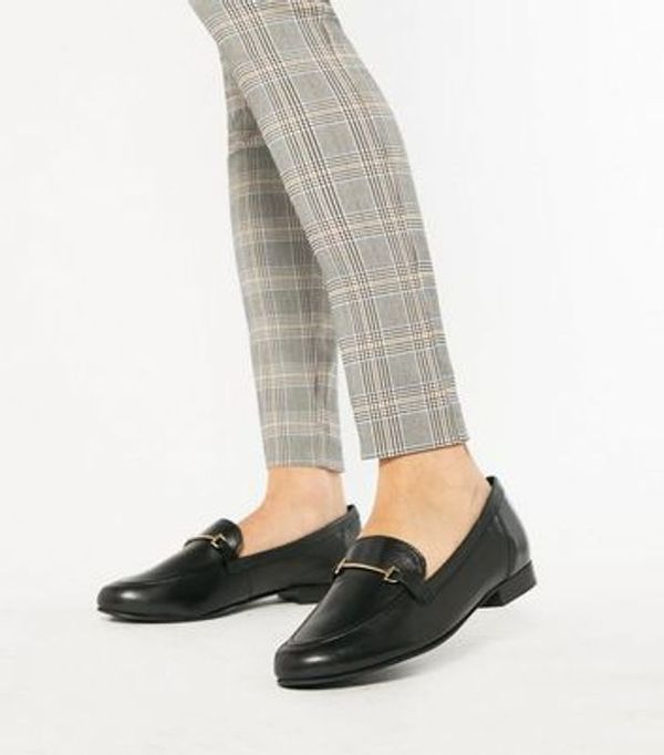 Save £9.00 - Black Leather Metal Bar Loafers