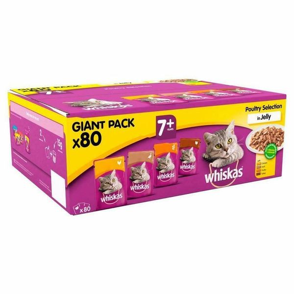 Save £6.00 - Whiskas 7+ Poultry in Jelly Giant Pack (80 Pouches)