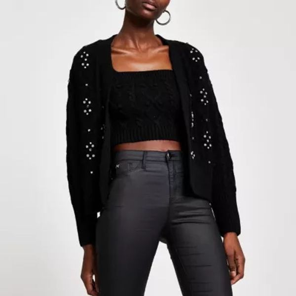 Save 55% - Black knit cardi and bralet set
