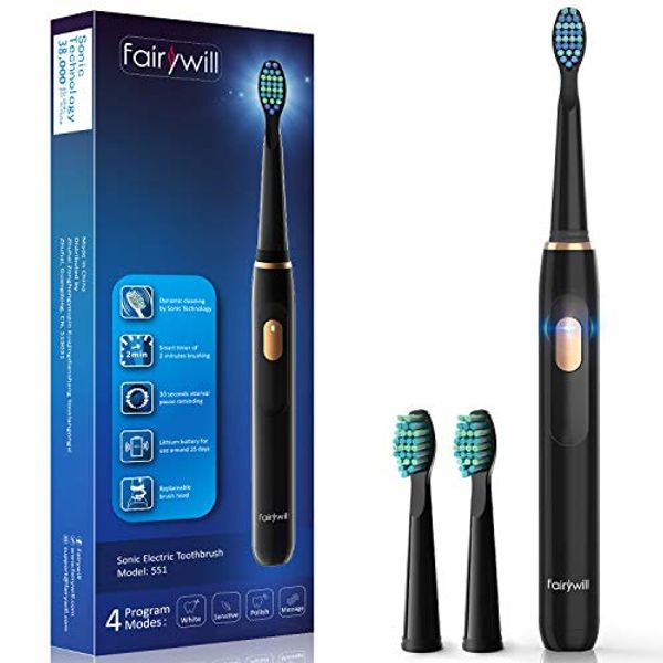 Sonic Electric Toothbrush,Electric Toothbrush for Adults with 4 Modes 4 Hours' Charge Lasts 30 Days' Use, 2 Mins Smart Timer and 2 Brush Heads Black Fairywill