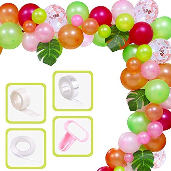Yiran Tropical Balloons Garland Kit 81 pcs DIY Luau Balloon Arch Garland with Palm Leaves and Balloon Strip for Tropical Hawaii Theme Birthday Party Baby Shower Decorationss for Girls Kids