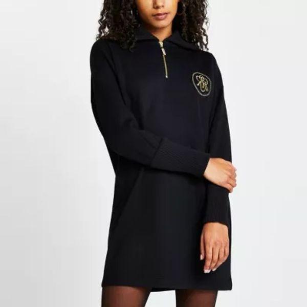 HALF PRICE! Black 'RR' zip detail sweater mini dress