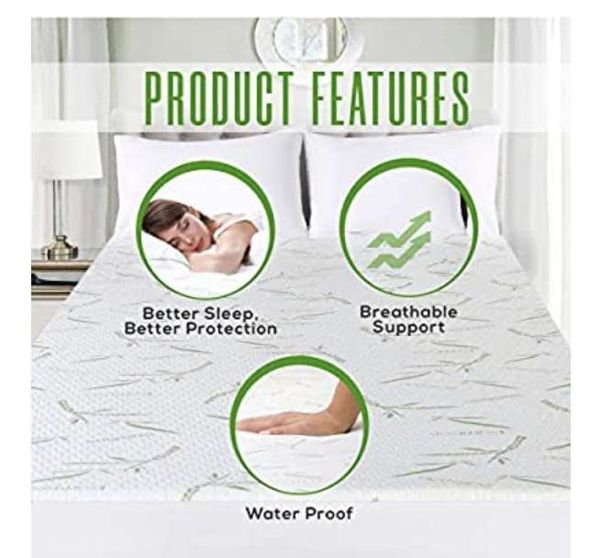 Utopia Bedding Premium Bamboo Mattress Protector 100% Waterproof, Mattress Cover, Breathable, Fitted Style All Around Elastic (Super King)