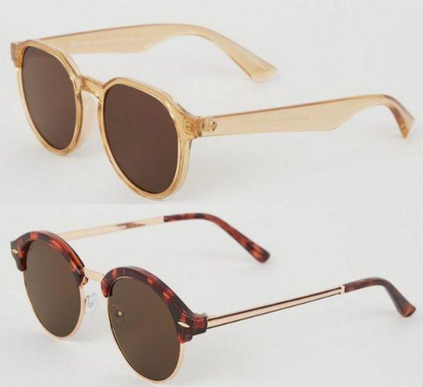 Save 75% - Light Brown Slim Frame Round Sunglasses