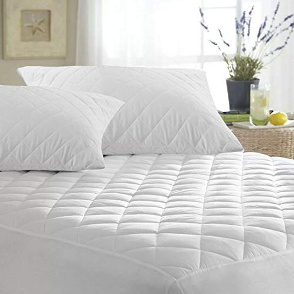MAS International Ltd Luxury Quilted Mattress Protector Microfiber Fitted 30cm Deep Skirt Soft Touch for Extra Comfort Non Noisy Hotel Quality Anti-Allergy & Breathable - (Double)