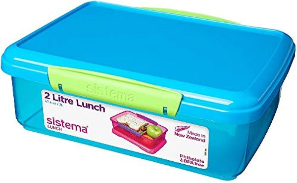 Sistema Lunch 2L-67.6 oz / 2 L, Assorted Colours, 23.5 x 17 x 8 cm