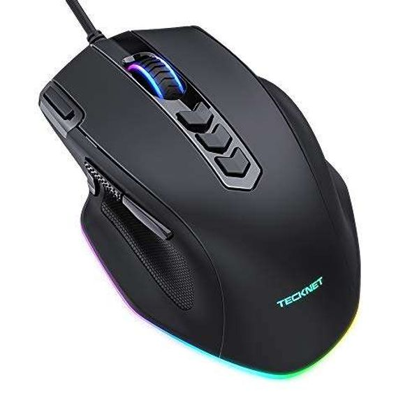 TECKNET Gaming Mouse, 10000DPI Programmable Wired Gaming Mice, 11 Programmable Buttons, 5 DPI Adjustment Levels, Fire Power Button, RGB Adjustment