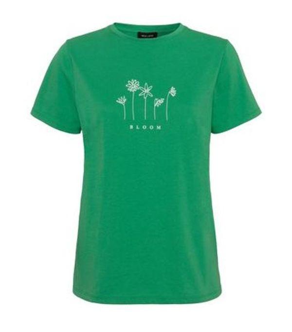 Save 78% - Green Bloom Floral Slogan T-Shirt