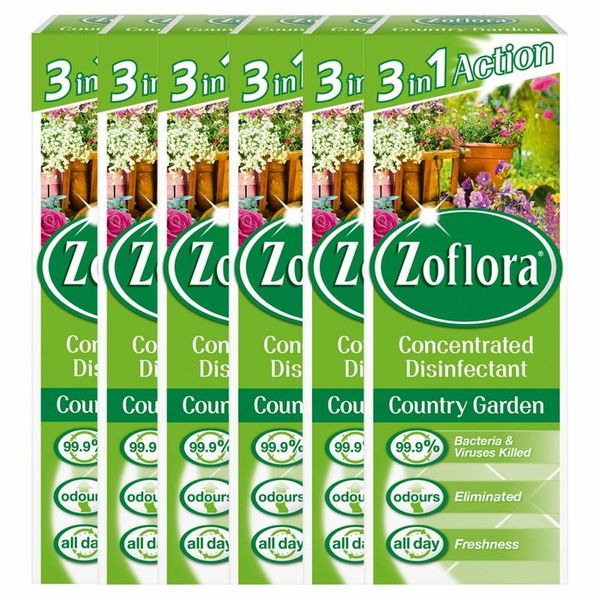 HALF PRICE! Zoflora 3 in 1 Action Concentrated Disinfectant Country Garden (6 x 120ml)