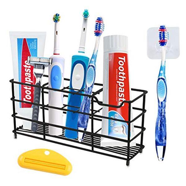 HAKACC Stainless Steel Toothbrush Holder,Toothbrush Holder for Bathroom Multi-Functional 8 Slots Toothbrush Holder Toothpaste Storage Toothbrush Organizer