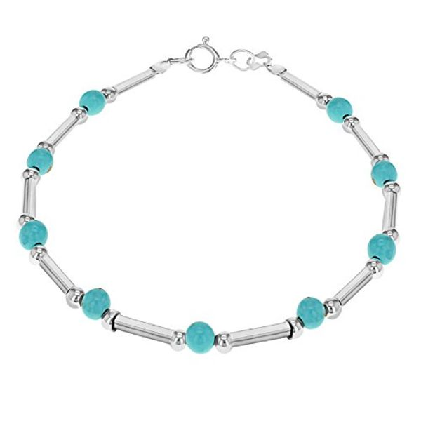 Save 27% - Tuscany Silver Sterling Silver Turquoise Bead and Bar Bracelet of 19cm/7.5""