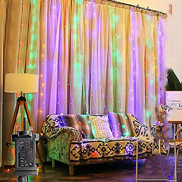 FANSIR Curtain Lights,300 LED 3mx3m Plug in Window Fairy String Lights with 8 Modes Waterproof Copper Light for Outdoor Indoor Wedding Party Garden Bedroom Decoration (Multicolor)