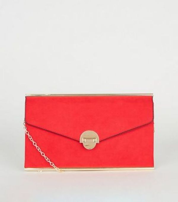 Save 71% - Red Suedette Envelope Clutch Bag