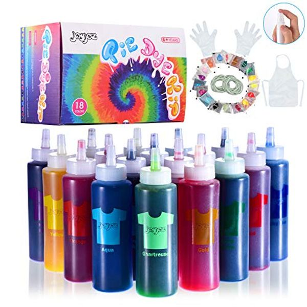 Joyjoz tie dye kit kids, 18 Colors Permanent All-in-1 Tie Dye Set with 18 Bag Pigments, Rubber Bands, Gloves, Apron and Table Covers for Craft Arts Fabric Textile Party DIY Handmade