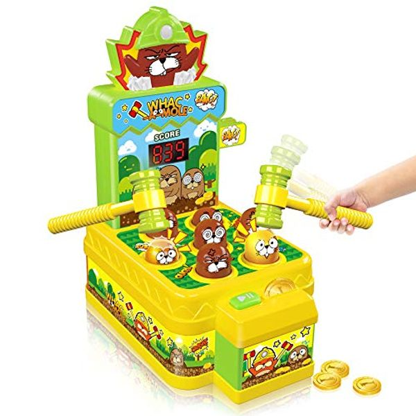 Save £4.50 - VATOS Whac-A-Mole Game,Mini Electronic Arcade Game Toy,Pounding Bench Coin game with 2 Hammers Toy,Interactive Educational Developmental Game for Toddlers Kids Gils and Boys Age 3 4 5 6 Years Old