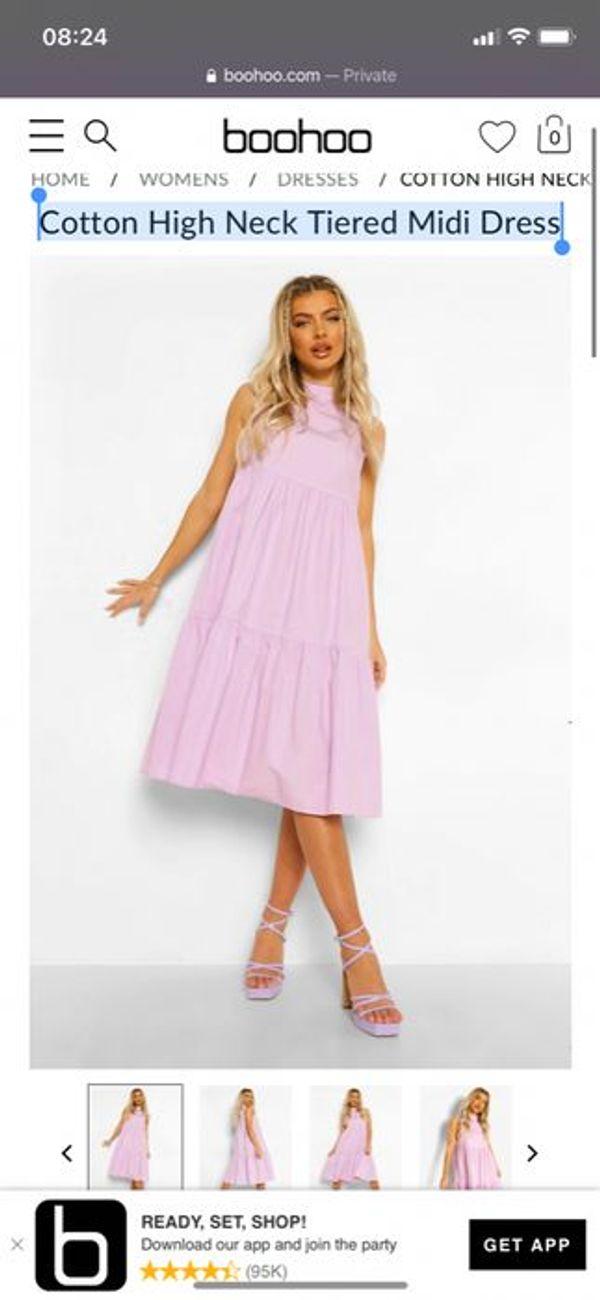 Cotton High Neck Tiered Midi Dress