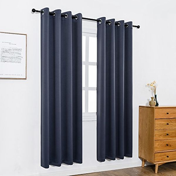 Anjee Eyelet Blackout Thermal Insulated Curtains 2 Panels 46 x 90 inch for Living Room/Bedroom/Nursery with 2 Matching Tie Backs Navy Blue