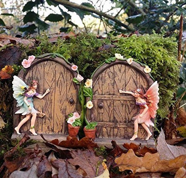 Set of 2sparkle fairy door garden home ornament.