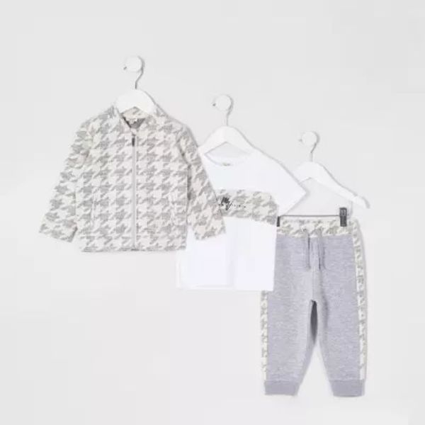 Save 43% - Mini boys grey overshirt 3 piece outfit
