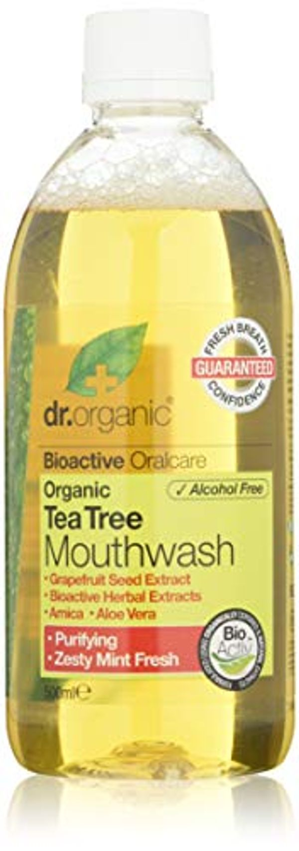 Dr. Organic Tea Tree Mouthwash, Mint, 500 ml