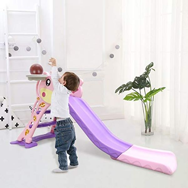 2 in 1 Kids Slides Children Toddler Slides and Climbers Indoor/Outdoor Slide Freestanding Foldable Large Garden Slide with Basketball Hoop Playground for Children, Ages 3 to 6 Years Old