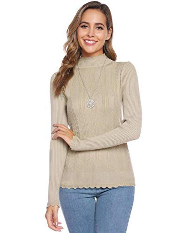 Abollria Women's Long Sleeve Jumpers Solid Mock Turtleneck Sweater Slim Knitwear Pullover Top for Ladies