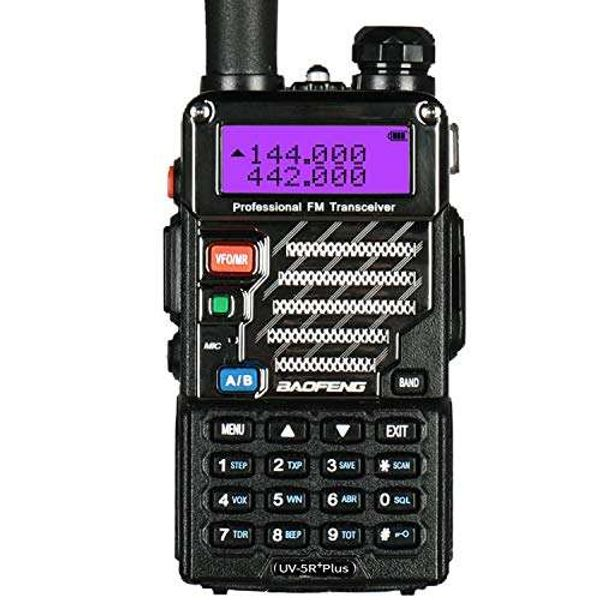 Baofeng UV 5R Plus UHF VHF Long Range Dual Band Ham Amateur Two Way Radio, Black
